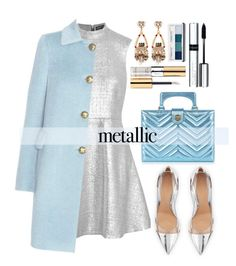 """Metallic Dresses"" by alaria ❤ liked on Polyvore featuring Markus Lupfer, Gianvito Rossi, RED Valentino, Yves Saint Laurent, By Terry, Anton Heunis, Gucci, Clinique and metallicdress"