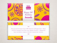 'Petal Party' Personalized Chocolate Bar Wrappers. #WhimsyWraps