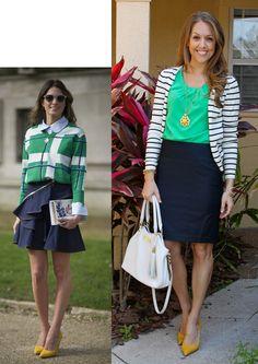 Love navy and emerald green together. Inspiration: Getty / Timur Emek via PopSugar