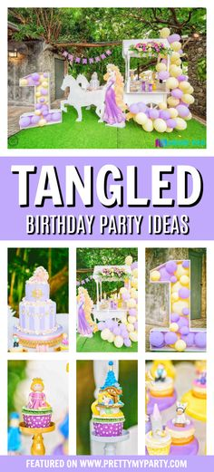 Tangled Themed Birthday Party features gorgeous decorations, desserts, Tangled party favors, food, and more. This party is perfect for any Rapunzel fan. Rapunzel Birthday Cake, Tangled Birthday Party, Disney Birthday, Third Birthday, 4th Birthday Parties, Birthday Ideas, Girl Parties, Mouse Parties, Birthday Fun