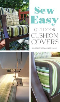 Outdoor Cushion Covers, Outdoor Cover, Green Cushions, Outdoor Cushions, Chair Cushions, Pillows, Sewing Projects For Beginners, Home Projects, Outdoor Projects