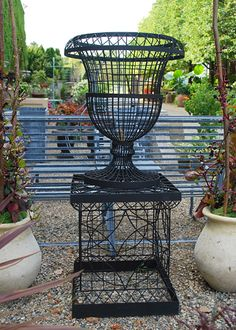Wire Urn With Matching Pedestal | Detroit Garden Works