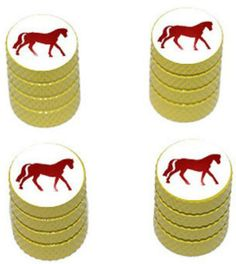 """Amazon.com : (4 Count) Cool and Custom """"Diamond Etching Country Horse Top with Easy Grip Texture"""" Tire Wheel Rim Air Valve Stem Dust Cap Seal Made of Genuine Anodized Aluminum Metal {Floral Nissan Yellow and White Colors - Hard Metal Internal Threads for Easy Application - Rust Proof - Fits For Most Cars, Trucks, SUV, RV, ATV, UTV, Motorcycle, Bicycles} : Sports & Outdoors"""