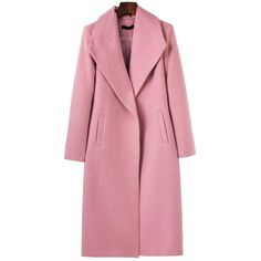 SheIn(sheinside) Pink Shawl Collar Longline Coat ($41) ❤ liked on Polyvore featuring outerwear, coats, pink, long sleeve coat, shawl collar coats, red coat, longline coat and leather-sleeve coats