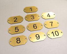 Set of 10 Number Tags, Table, Locker, Pub, Restaurant, Hotel, Laser Engraving
