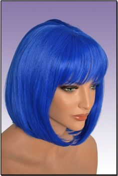 Hollywood_Hair4u  Light Blue Bob Wig with Bangs Kanekalon Heat Resistant Synthetic Fiber Skin Top NEW * Read more reviews of the product by visiting the link on the image.(This is an Amazon affiliate link and I receive a commission for the sales)