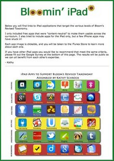 iPads in the Classroom - Bloom's Taxonomy using apps. I love to refer to this when I'm looking for ideas to incorporate for differentiation