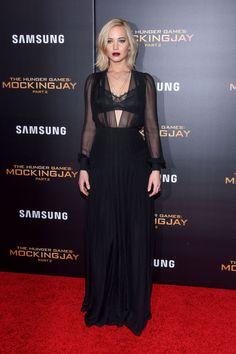 In a sheer Schiaparelli dress, Tamara Mellon shoes and Eva Fehren jewelry at the New York premier.   - HarpersBAZAAR.com