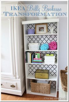 Fabric covered cardboard cut to cover the backs of bookshelves - fast and easy to update for new looks! LOVE it!