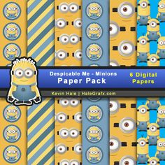 free despicable me minions digital paper pack comes with 6 printable papers. Digital papers have a minion theme. Despicable me 2 digital papers in JPEG format. Minion Theme, Minion Birthday, Minion Party, Digital Scrapbook Paper, Digital Papers, Minion Gifts, Blog Wallpaper, Despicable Me, Printable Paper