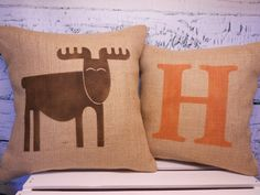 Child's elk/moose pillow and monogram initial pillow - burlap pillow covers - set of 2 - rustic nursery - Pillow Inserts Sold Separately by LaRaeBoutique on Etsy Monogram Pillows, Burlap Pillows, Monogram Initials, Pillow Set, Pillow Covers, Woodsy Nursery, Baby Boy, Pillow Inserts, Tejidos