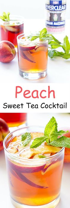 Peach Sweet Tea Cocktail - A great summer cocktail. Ice tea flavored with a sweetened alcoholic peach syrup. Sweet Tea Cocktail, Sweet Cocktails, Tea Cocktails, Summer Cocktails, Fun Drinks, Beverages, Party Drinks, Sangria Recipes, Tea Recipes