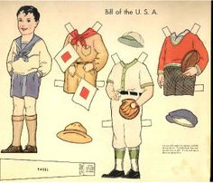 Dolls of Many Lands paper doll. Bill of the USA
