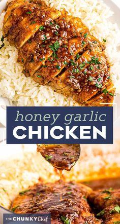 Juicy chicken breast cutlets, seared, tossed in a mouthwateringly simple honey garlic sauce, then broiled until sticky and caramelized. Made with simple ingredients, in one pan, and in just 30 minutes - including prep time! #chicken #chickenbreast #honeygarlic #onepan #onepot #30minuterecipe #familydinner #dinner #easyrecipe