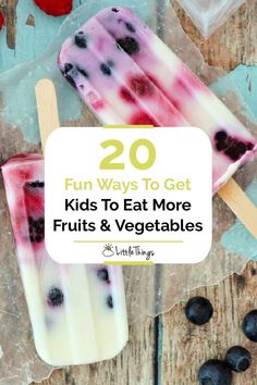 20 Fun Ways To Get Kids To Eat More Fruits & Vegetables: Sometimes a mama has to get creative. Here are 20 recipes and tips for making fruits and veggies more appealing to the kiddos.