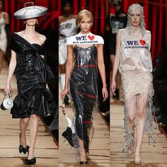 Models wearing a garbage bag dress with a trash can lid hat, a dry cleaning bag dress with a sock handbag, and a plastic bag top with a crystal-draped skirt