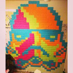 Post-it notes stormtrooper mural. Soo sick!!