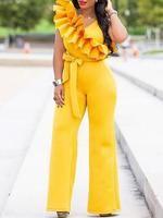 New Yellow Ruffle Asymmetric Shoulder Belt High Waisted Elegant Party Wide Leg Palazzo Long Jumpsuit Long Jumpsuits, Jumpsuits For Women, Ruffles, Sexy, Cocktail, Skinny, Women's Fashion Dresses, Pattern Fashion, Sleeve Styles
