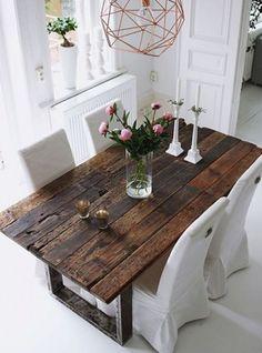 tavolo vintage da soggiorno legno invecchiato 180x90x75
