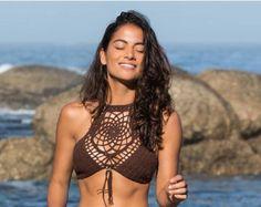 Crochet top blanco bikini ganchillo top halter top de por Fayolini