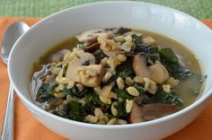 Mushroom-Barley Soup with Kale. A meatless version of beef barley soup - Three Many Cooks