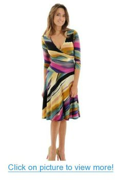 Colorful Faux Wrap Dress Modern Brush Stroke Design Side Ruching and Sleeves