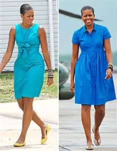 Turquoise dress (left) Cornflower blue shirt dress (right)