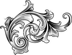 Victorian Filigree Tattoo   This is Victorian scroll line drawaing with shading.