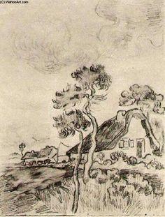Vincent van Gogh: Cottages and Trees Saint-Rémy: March-April, 1890 (Caracas, Collection Ernesto Blohm) Vincent Van Gogh, Van Gogh Drawings, Van Gogh Paintings, Pierre Auguste Renoir, Rembrandt, Desenhos Van Gogh, Van Gogh Arte, Van Gogh Pinturas, Artist Van Gogh