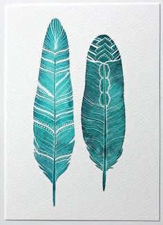 Feather Watercolor Painting - Modern Art - Large Archival Print - 11x14 River Song Feathers