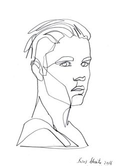 """Gaze 351 (Justin Bieber)″, continuous line drawing by Boris Schmitz"