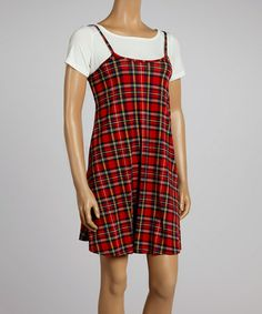 Look at this #zulilyfind! White & Red Plaid Layered Dress by Reborn Collection #zulilyfinds