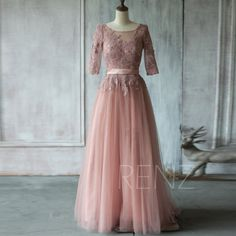 Maybe tea length instead...2015 Dusty Rose Bridesmaid dress, A line Mesh Wedding dress, Lace Top Long Sleves Cocktail dress, Scoop Formal dress floor length (TS153)