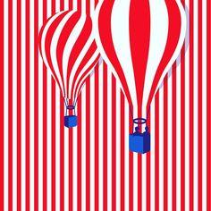 An illustration of hot air balloon on vertical stripes that makes your heart sing. Balloon Illustration, Graphic Design Illustration, Illustration Art, Graphic Art, Design Graphique, Art Graphique, Illusion Art, Arte Pop, Belle Photo