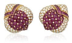 A pair of ruby and diamond earrings #ChristiesJewels