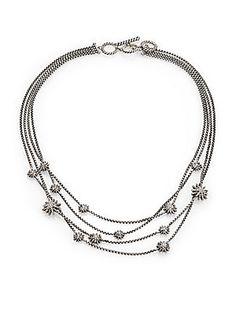 David Yurman Diamond and Sterling Silver Starburst Bib Necklace Saks Fifth $2400.00