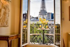WWW.PARISPERFECT.COM. This is the Cabernet. Apt rentals in all arrondissements, many with views of the Eiffel Tower. All decorated with old French antiques.