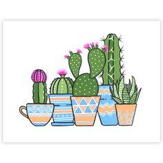 Little Desert Potted Plant Gang Signed Art Print Boelter Design Co # Cactus Drawing, Cactus Painting, Plant Painting, Plant Drawing, Cactus Art, Succulents Painting, Cactus Decor, Cute Canvas Paintings, Mini Canvas Art