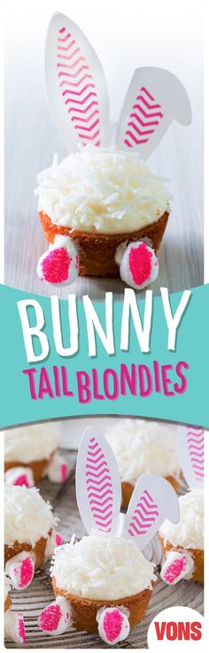 Bunny Tail Blondies are an easy, cupcake-inspired sweet treat the kids will be obsessed with!