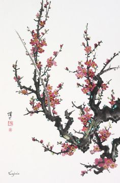 Chinese brush painting (Plum blossoms) I want to learn to do this while I'm living in Japan :) Mary Cassatt, Chinese Brush, Chinese Art, Japanese Painting, Chinese Painting, Henri Matisse, Chinoiserie, Monet, Cherry Blossom Drawing