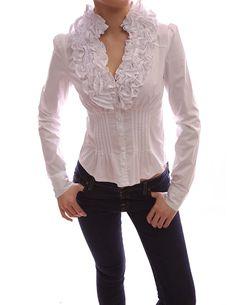 PattyBoutik Ruffle Flounce Stand Collar Pleated Waist Blouse Top (White M)