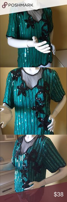 """Vintage Stenay silk beaded/sequined top. Vintage Stenay silk beaded/sequined top. Colour is green and black. Length 23,75"""", bust 40"""". Shell is silk, lining is polyester. Tagged medium. Please pay attention to measurements. Super gorgeous piece! Vintage Tops"""