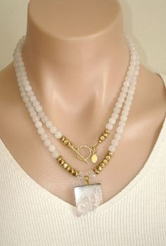 Ashira White Jade Gemstone Necklace with GF by AshiraJewelry
