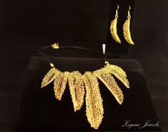 Gold wire crocheted statement necklace and by ZegnaJewelry on Etsy, $125.00
