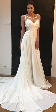 #weddingdresses #laceweddingdresses #weddingdresses #beachweddingdresses  LBQW0160 features high quality chiffon but the price is very nice. A Line is very friendly to your curve, which is suitable for everyone. Scoop, sleeveless and zipper are very elegant. Appliques can let you be more chic and charming. Shop at AlinePromDress! You deserve it. Popular Wedding Dresses, Long Wedding Dresses, Formal Dresses, Elastic Satin, Applique Wedding Dress, Wedding Inspiration, Style Inspiration, Buy Dress, Fashion Prints