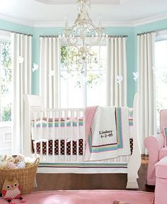 Tiffany blue walls with pink and white, love this
