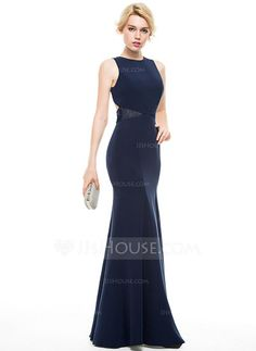 [US$ 129.99] Trumpet/Mermaid Scoop Neck Floor-Length Satin Evening Dress With Lace (017086910)