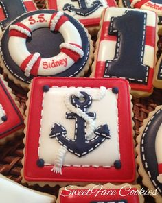Nautical cookie set, anchor, life-ring, red-white-blue, by SweetFace Cookies Summer Cookies, Fancy Cookies, Iced Cookies, Cute Cookies, Cupcake Cookies, Bolacha Cookies, Galletas Cookies, Cookie Frosting, Royal Icing Cookies