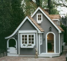 English Cottage Playhouse - More info here http://www.elegantplayhouses.com/custom-playhouse-model-9-1.php