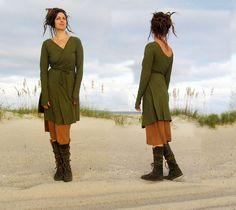 Short Flip Wrap Dress (hemp/organic cotton knit) Reversible!
